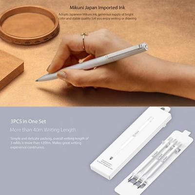 3pcs Xiaomi Mijia 0.5mm Metal Signing Pen Replaceable Smooth Refill Ink Smooth