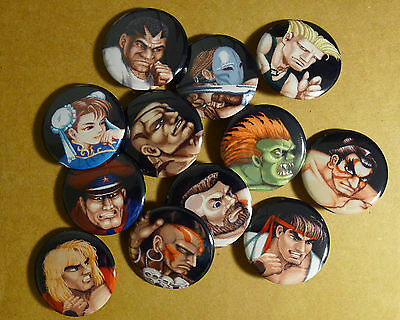 Street fighter 2 CE portrait pins buttons pinback badge ryu ken guile blanka