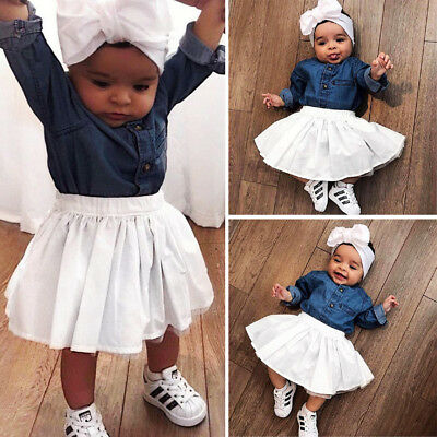 US Fashion Toddler Baby Kid Girls Tops Shirt Tulle Skirt Party Dress Outfits Set
