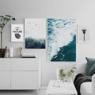 Nordic Forest Sea Wave Canvas Painting Poster Picture Wall Art Home Decor Noted