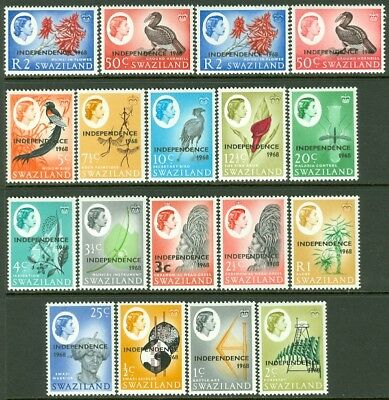 EDW1949SELL : SWAZILAND 1968 Sc #143-59 Cplt set Also #157a, 159a VF MNH Cat $46