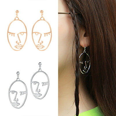 ONE PAIR of hollow abstract face/head dangle stud earrings art deco UK seller