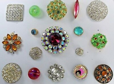 Antique/vintage Lot Of 17 Rhinestone/moonstone/luster Buttons- Beautiful #2