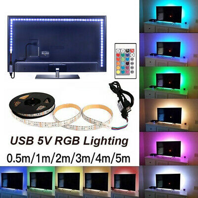 5V USB LED Strip Light RGB 5050 TV Back Lamp Colour Changing +Remote