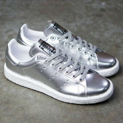f458a3a9cd6e4 Women Adidas Stan Smith Boost W Metallic Silver Metal Ultra 1 BB0108 Size 8