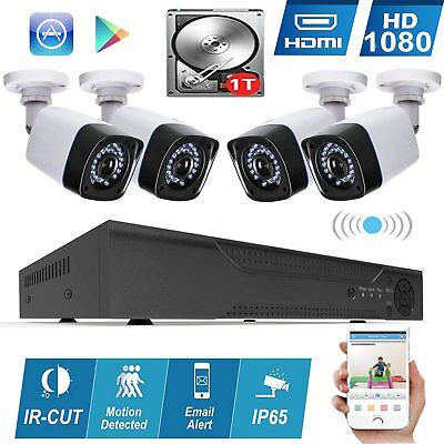 HD 4CH Wire Security Camera System 1080P Surveillance Kit Channel 1TB Hard Disk