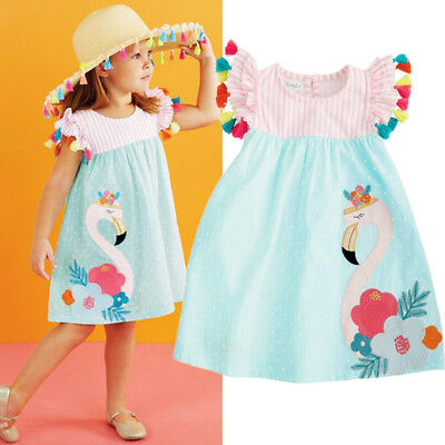 UK Stock Toddler Kids Girls Flamingo Summer Casual Dress Sundress Clothes 1-6Y
