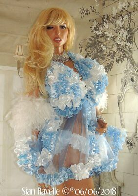 Sian Ravelle Unique White Baby Blue Satin Frilly Lined Bra Baby Doll Sissy Dress