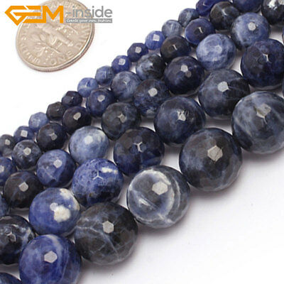 """Natural Gemstone Blue Sodalite Round Loose Beads For Jewellery Making 15""""Strand"""