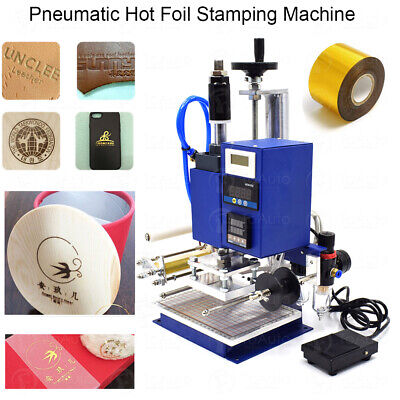 220V Hot Stamping Machine Air Pneumatic Embossing PU PVC Leather Bronzing 300W