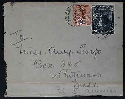 1903 Tasmania Australia cover ties tablet & pictorial Stamp Fingal to Massachsts