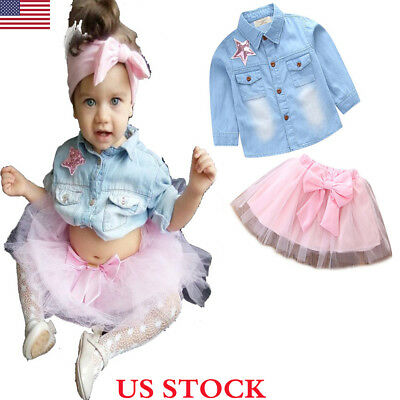 US Toddler Kids Baby Girl Denim Tops Shirt+ Princess Tulle Tutu Skirt Dress Set