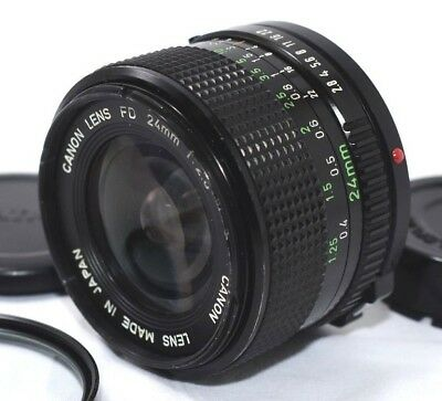EXC+5 Canon New FD 24mm F2.8 MF Wide Angle Lens NFD with Filter 24 2.8 Japan