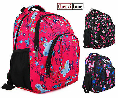 Quality Womens Girls Kids Butterfly Hearts Chervi College School Backpack Bag