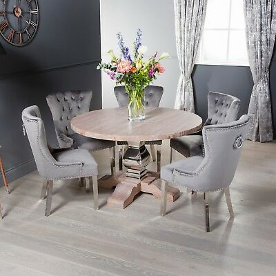 eGB313 - French Style Round Solid Oak 1.3m Circular Kitchen Dining Table