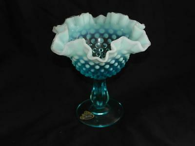 Rare Vintage FENTON Opalescent Art Glass Hobnail Footed Ruffled Comport BOWL