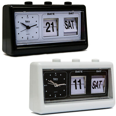 Vintage Retro Quartz Alarm Clock Flip Date & Day & Time Display Black/White