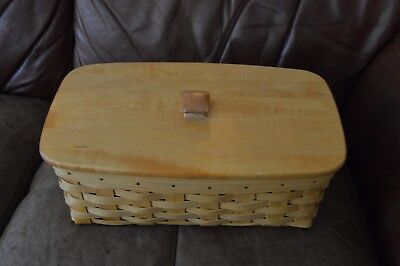 Longaberger 1998 VANITY basket with Lid & 2 stackable protectors, classic stain