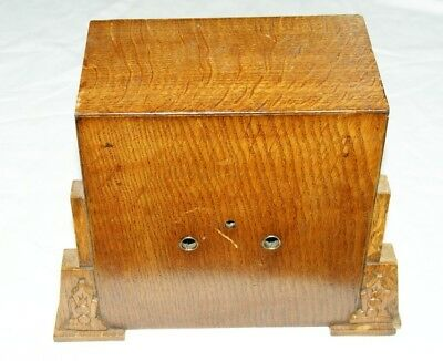 Vintage Square Empty Oak Mantel Clock Case