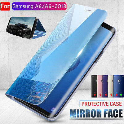 Slim Full Cover Luxury Touch Mirror Flip Case for Samsung Galaxy A6 J6 A8 Plus