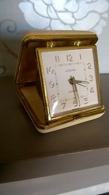 vintage Europa 2 jewel wind up old travel case clock, with alarm