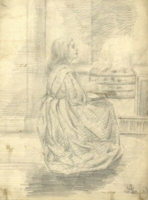 Amy Scott, Girl Reading by Fire - 1863 graphite drawing