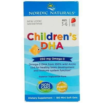 Nordic Naturals, Children's DHA, Strawberry, 250 mg, 180 Soft Gels