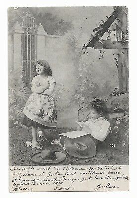 Two Little Girls Playing Dressing Up Posted 1904 Postcard 153G