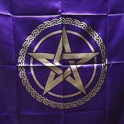 100cm Purple & Gold Pentagram Altar or Tarot Cloth ~ Tapestry Wiccan Witch Pa...