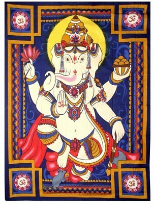 """Large Ganesh Wall Hanging / Tapestry 52"""" x 76"""" 100% Cotton ~ Tapestry Altar C..."""