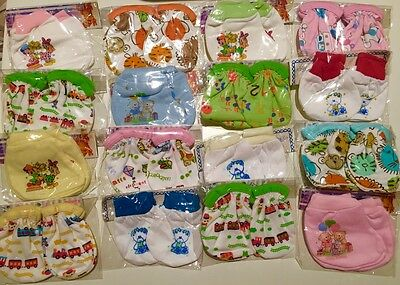 4 Pairs High Quality Baby Newborn Mittens & Booties Cotton Cute designs