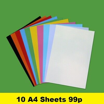 10 sheets 160gsm A4 Coloured Card Craft 29 Brilliant Colours