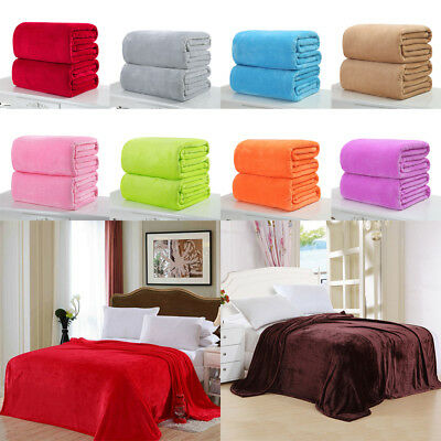 Super Soft Solid Warm Micro Plush Fleece Blanket Throw Rug Sofa Bedding AU