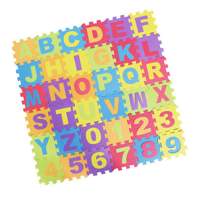 Prettyia Kid Puzzle Educational Alphabet Numbers 36 Tiles and Edges Play Mat