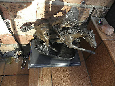 Bronze Statue American Indian riding on Horse