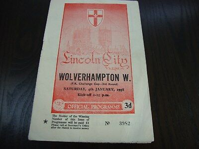 1958 FA CUP 3RD ROUND LINCOLN CITY v WOLVES 4-1-58