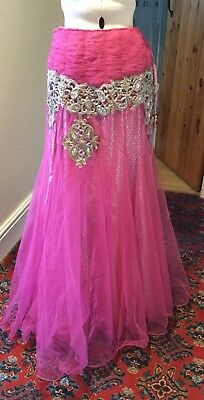 Bollywood Style Theatrical Pink Tulle Skirt Stage Costume - Size S/m
