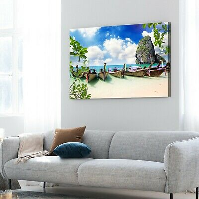 Framed Canvas prints Beach view boat Thailand Riley modern wall art home decor