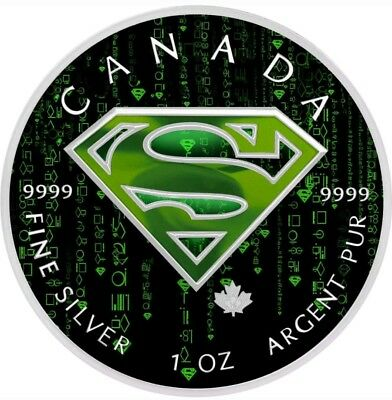 2016 1 Oz Silver 5$ CANADIAN KRYPTONESE SUPERMAN Coin. ON HANDS.