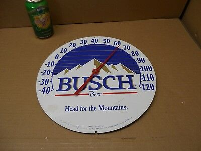 """Vintage BUSCH   BEER ADVERTISING THERMOMETER  Jumbo Dial co. 12"""" MADE in USA"""