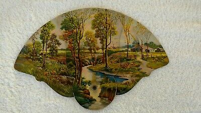 VINTAGE FUNERAL FAN TRI-FOLD: COUNTRY LANDSCAPE: 1950s ARTIST NOT CREDITED