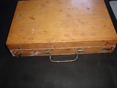 vintage wooden artists box and palette