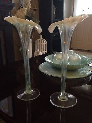 """2 Beautiful Rare Opalescent 12"""" Jack In The Pulpit Vases JIP Tall Vases Antique"""