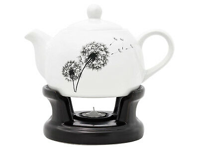 Porcelain teapot set with warmer stand base Tea 1L Flowers Dandelion Gift White