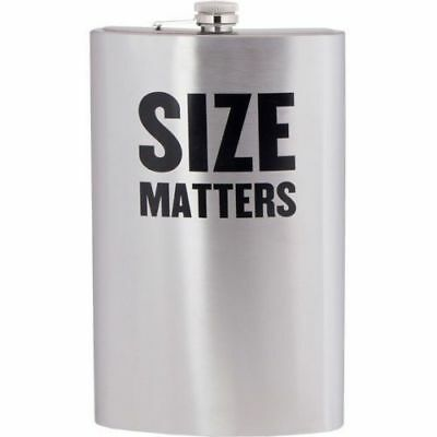 "Jumbo ""Size Matters"" Flask 64Oz Stainless Steel Alcohol Drink Party Novelty Gift"