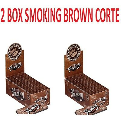 Smoking Cartina Corta Brown.2 Box Da 50 Blocchetti Da 60 Cartine Non Sbiancata