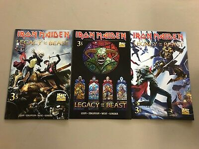 3x IRON MAIDEN LEGACY OF THE BEAST 3; A CASAS B C GORDON VARIANT Heavy Metal