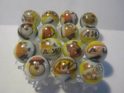 A & W ROOT BEER Soda Pop Glass Marbles 5/8 size with Marble Stands