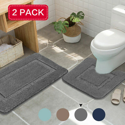 Bath Floor Mat Set Toilet Pedestal Rug Bathroom Anti Non Slip Shower Mats
