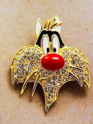 Sylvester The Cat Rhinestone Brooch Pin Austrian Crystals Warner Brothers